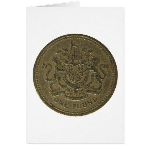 Una moneda de libra tarjeta de felicitación