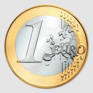 Una moneda euro (paquete de 6/20) pegatina redonda