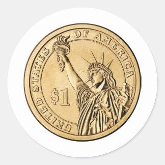 Una moneda presidencial del dólar 2007 de la menta pegatinas redondas