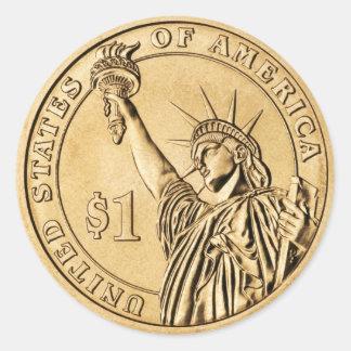 Una moneda presidencial del dólar 2007 de la menta pegatina redonda