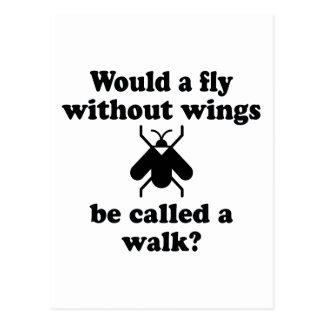 Una mosca sin las alas tarjeta postal