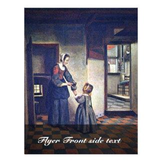 Una mujer con un niño en una despensa. [1] Por Pie Tarjeta Publicitaria
