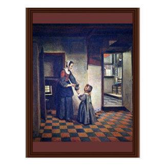 Una mujer con un niño en una despensa. [1] Por Pie Tarjeta Postal