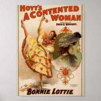 Una mujer contenta teatro del vintage de Bonnie Poster