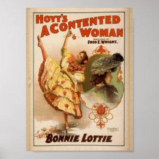 Una mujer contenta teatro del vintage de Bonnie Posters