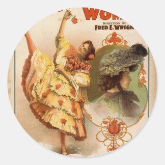 Una mujer contenta teatro del vintage de Bonnie Etiquetas Redondas