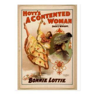 Una mujer contenta teatro del vintage de Bonnie Tarjetas Postales