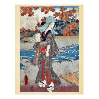 Una mujer debajo de las hojas de arce por Utagawa, Tarjeta Postal