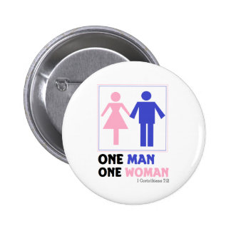 Una mujer del hombre uno pin redondo 5 cm