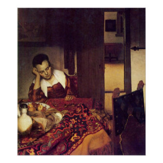 Una mujer dormida por Juan Vermeer Póster