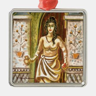 Una mujer en el símbolo de la recepción de la adorno navideño cuadrado de metal