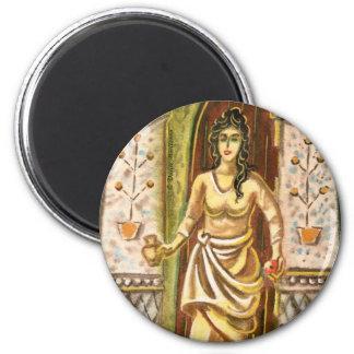 Una mujer en el símbolo de la recepción de la imán redondo 5 cm