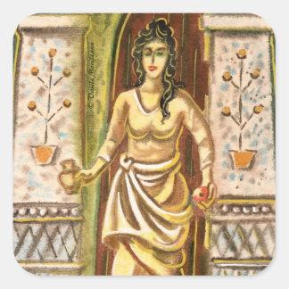 Una mujer en el símbolo de la recepción de la pegatina cuadrada