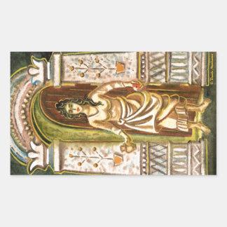 Una mujer en el símbolo de la recepción de la pegatina rectangular