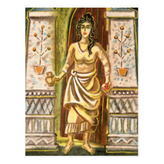 Una mujer en el símbolo de la recepción de la postales