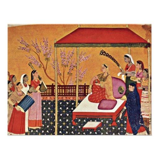 Una mujer escucha la música de Indischer Maler Um Comunicado Personalizado