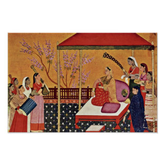 Una mujer escucha la música de Indischer Maler Um Impresiones