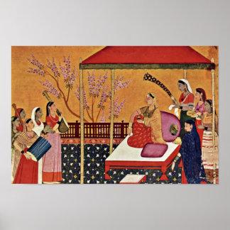 Una mujer escucha la música de Indischer Maler Um Póster