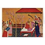 Una mujer escucha la música de Indischer Maler Um Felicitaciones