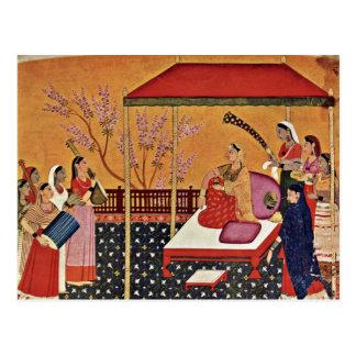 Una mujer escucha la música de Indischer Maler Um Postal