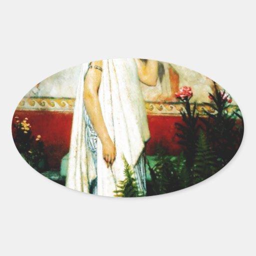 Una mujer griega de sir Lorenzo Alma Tadema Calcomania Ovaladas Personalizadas