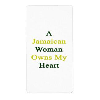 Una mujer jamaicana posee mi corazón etiquetas de envío