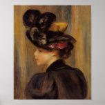 Una mujer joven de Renoir que lleva un gorra negro Poster