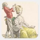 Una mujer joven en un Peignoir con su peluquero, Pegatina Cuadrada