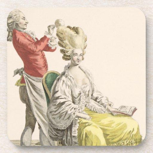 Una mujer joven en un Peignoir con su peluquero, Posavasos De Bebidas