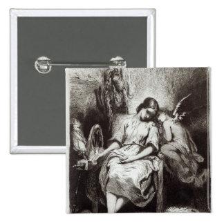 Una mujer joven que dormita con un ángel pin cuadrado