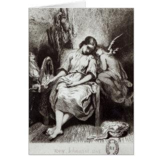 Una mujer joven que dormita con un ángel tarjeta de felicitación