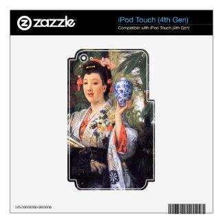 Una mujer joven sostiene mercancías japonesas de J iPod Touch 4G Calcomanías