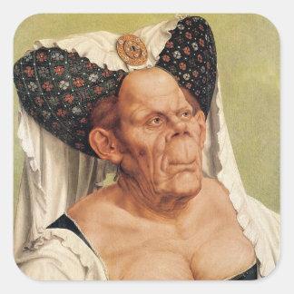 Una mujer mayor grotesca, posiblemente princesa calcomanía cuadradas personalizadas