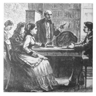 Una mujer negocia con un encargado de fábrica, ass azulejo cuadrado grande