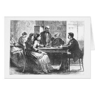 Una mujer negocia con un encargado de fábrica, ass tarjeta de felicitación