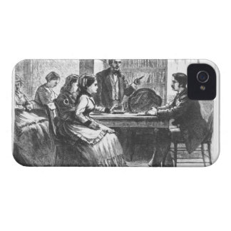 Una mujer negocia con un encargado de fábrica, iPhone 4 carcasa