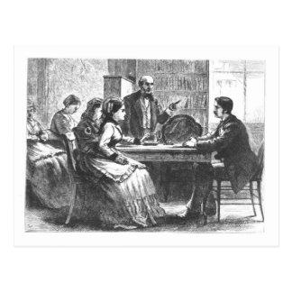 Una mujer negocia con un encargado de fábrica, postales