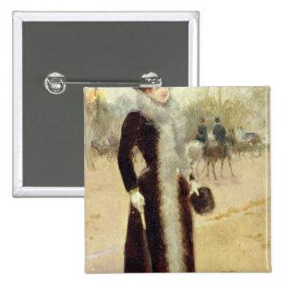 Una mujer parisiense en el Bois de Boulogne, c.189 Pin Cuadrado