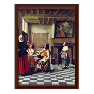 Una mujer que bebe con dos hombres de Hooch Pieter Postal