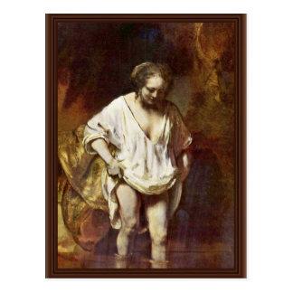 Una mujer que se baña Por Rembrandt Van Rijn Tarjetas Postales