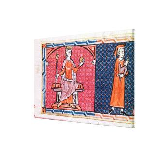 Una mujer que toma un juramento antes lienzo envuelto para galerías