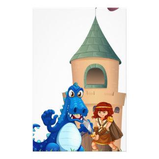 Una mujer y un dragón fuera del castillo papelería personalizada