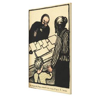 Una mujer y un niño entregan sus ahorros impresión en lienzo estirada