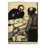 Una mujer y un niño entregan sus ahorros tarjeta