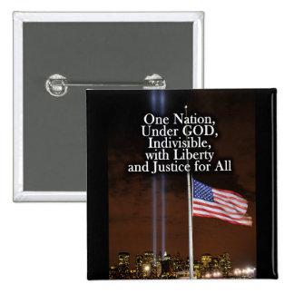 Una nación bajo día 9/11 del patriota de dios pin cuadrado