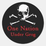 Una nación bajo pegatinas del grog (cráneo blanco) pegatinas redondas