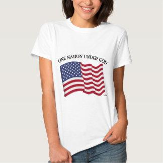 Una nación debajo de dios con la bandera de los playera