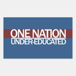 Una nación debajo de educado pegatina rectangular