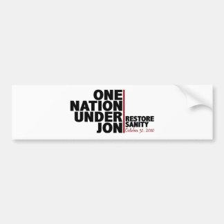 Una nación debajo de Jon (cordura del restablecimi Etiqueta De Parachoque