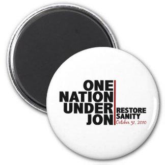 Una nación debajo de Jon (cordura del restablecimi Imán Redondo 5 Cm